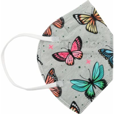 TECHNIMASK Mini, 5 Stück (1 Polybeutel mit 5 Stück), Muster Schmetterlinge